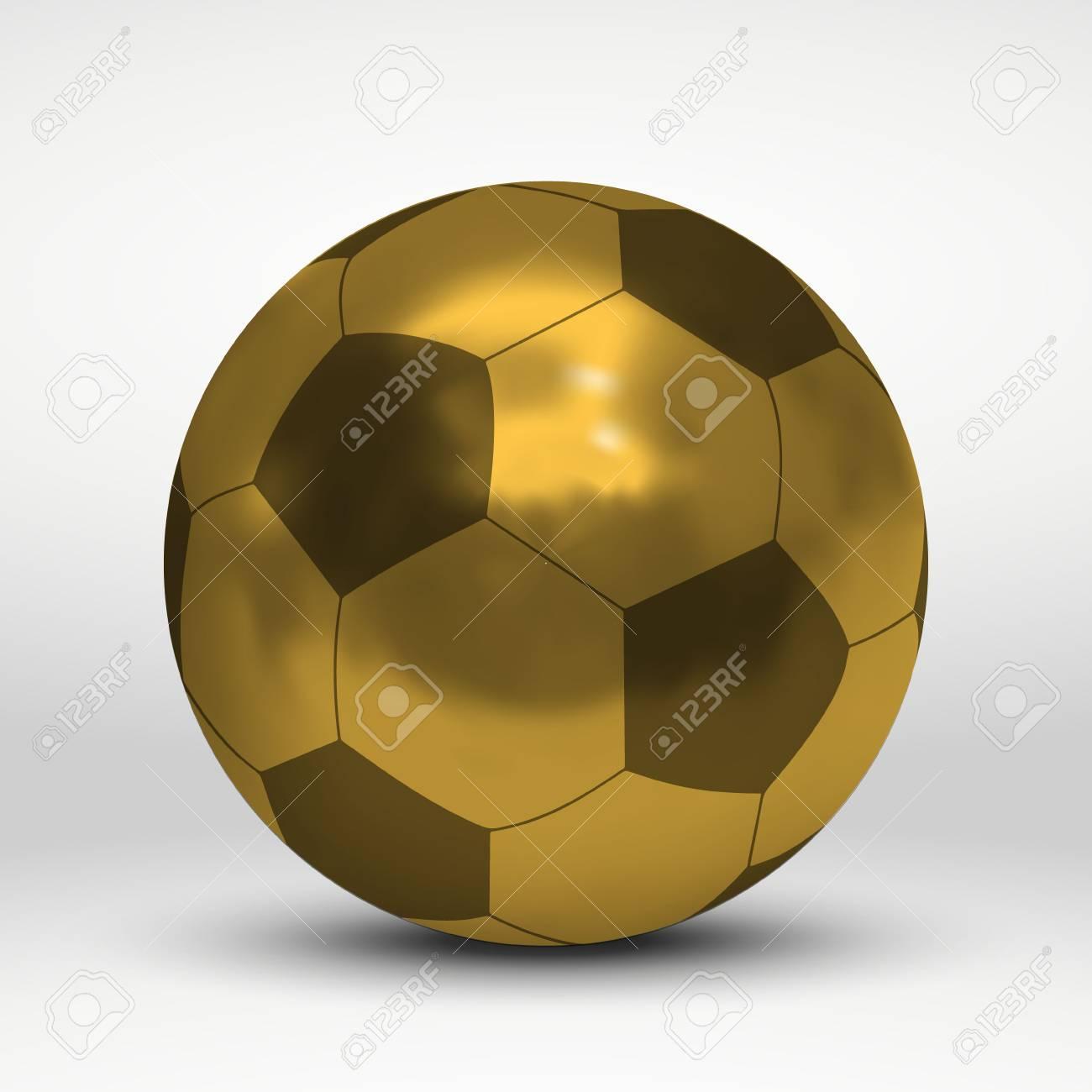 b1682b53d Vector - Vector illustration with golden soccer ball over white background