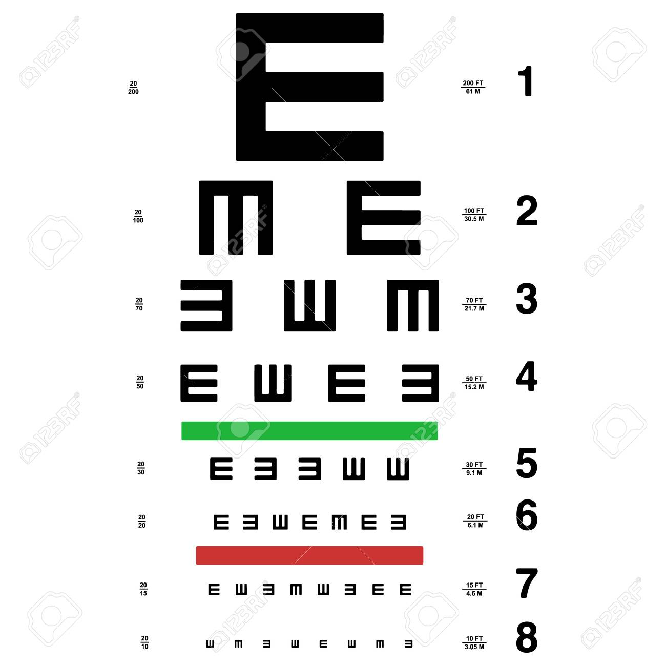 Vector eye test chart visual acuity royalty free cliparts vectors