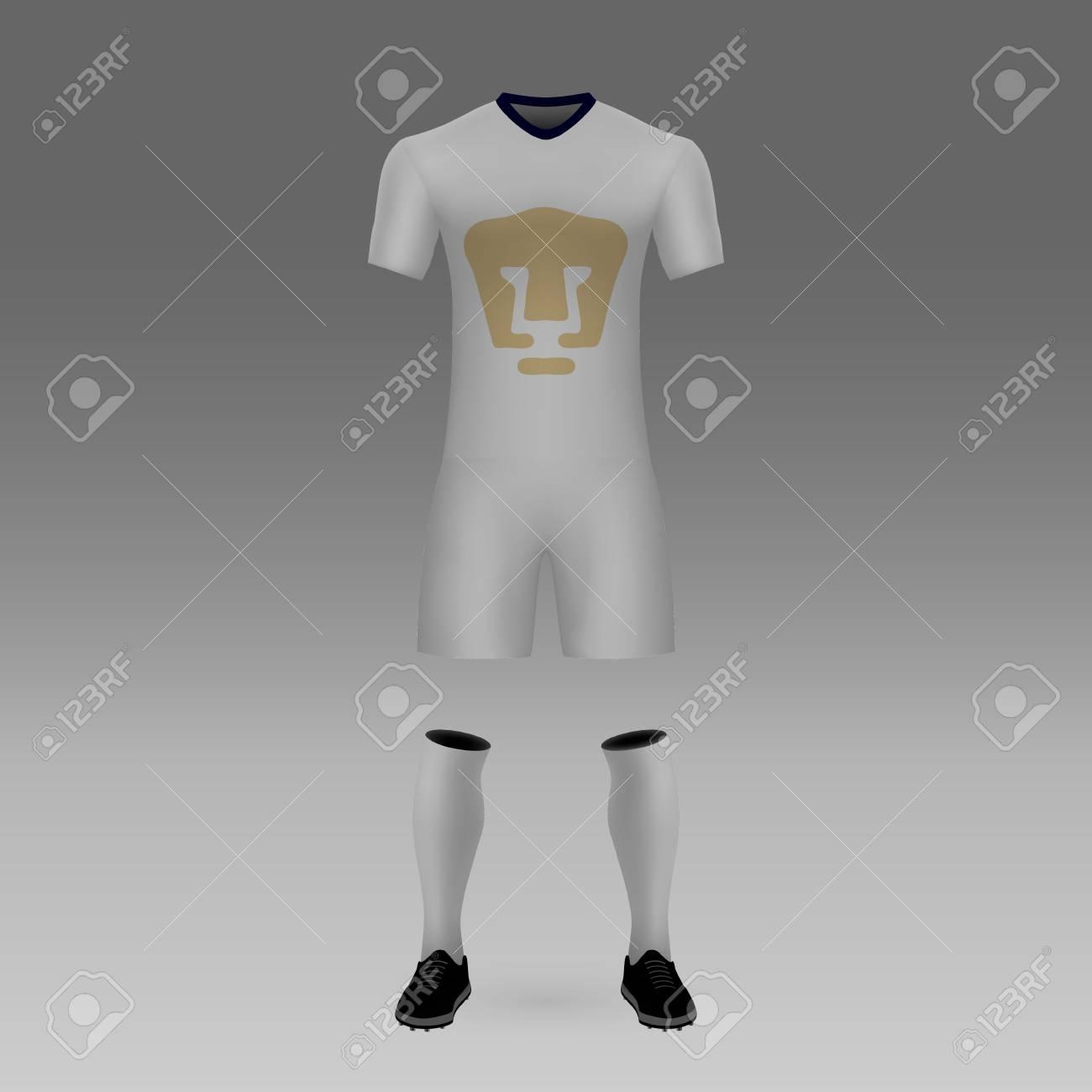 wholesale dealer a3912 72b00 football kit UNAM Pumas, shirt template for soccer jersey. Vector..
