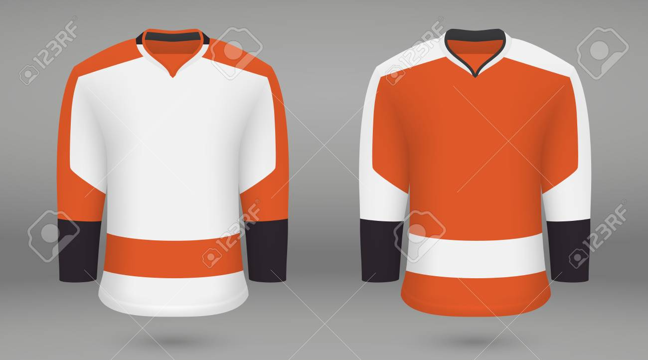 brand new 1acf7 e6194 Realistic hockey kit, shirt template for ice hockey jersey. Philadelphia..