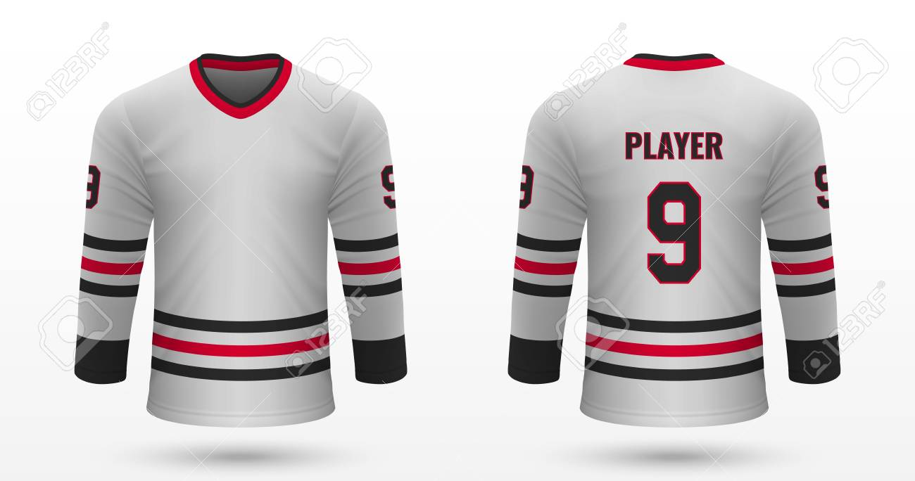 sports shoes 6e39e 3bf7e Realistic sport shirt Chicago Blackhawks, jersey template for..