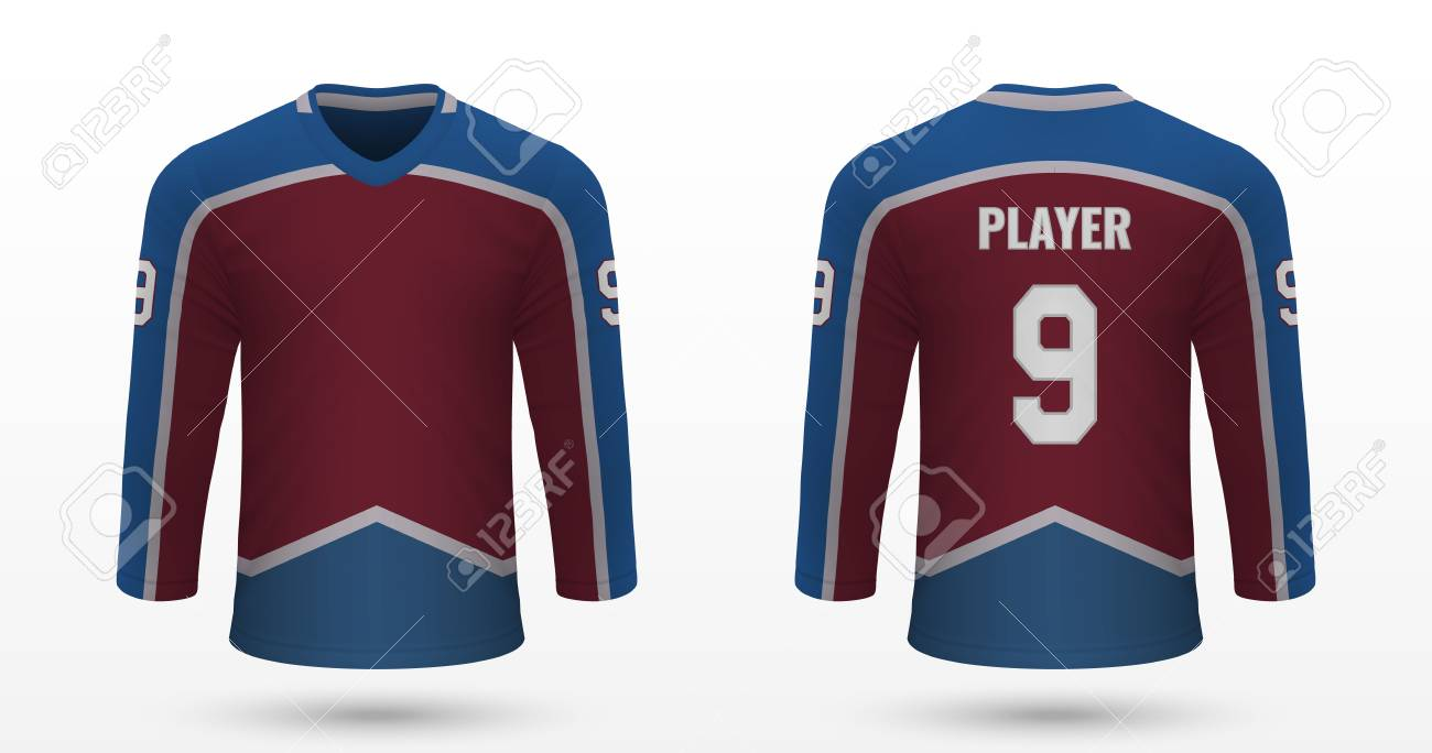 new products 33edc 2c7b8 Realistic sport shirt Colorado Avalanche, jersey template for..