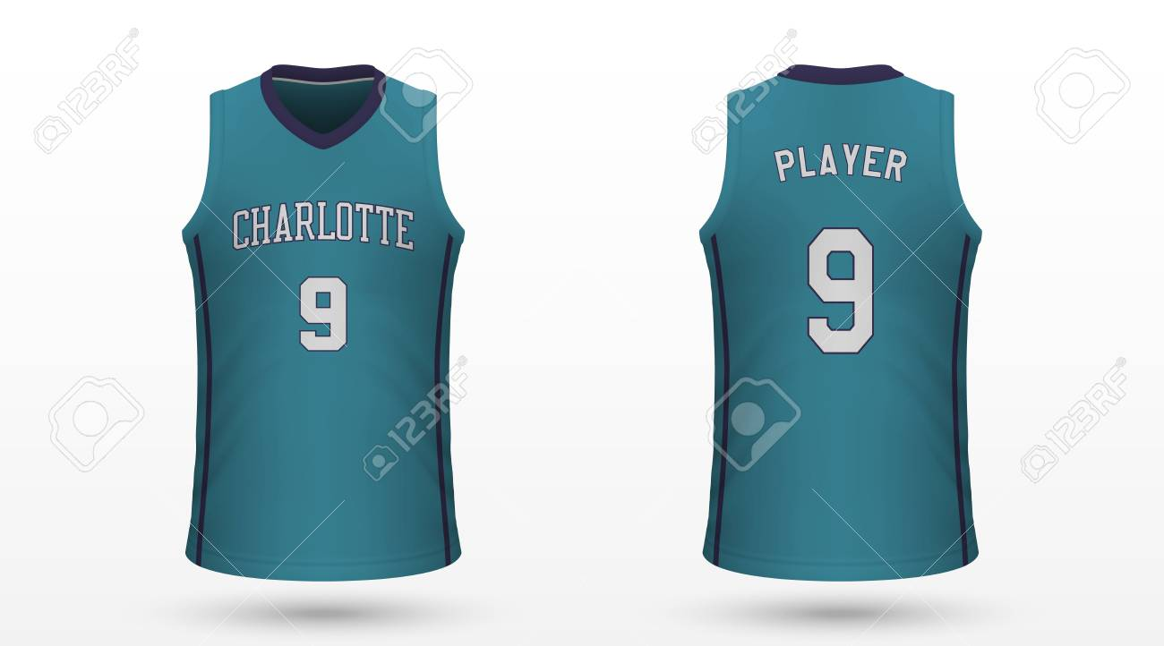 new arrival 97bf2 17f69 Realistic sport shirt Charlotte Hornets, jersey template for..