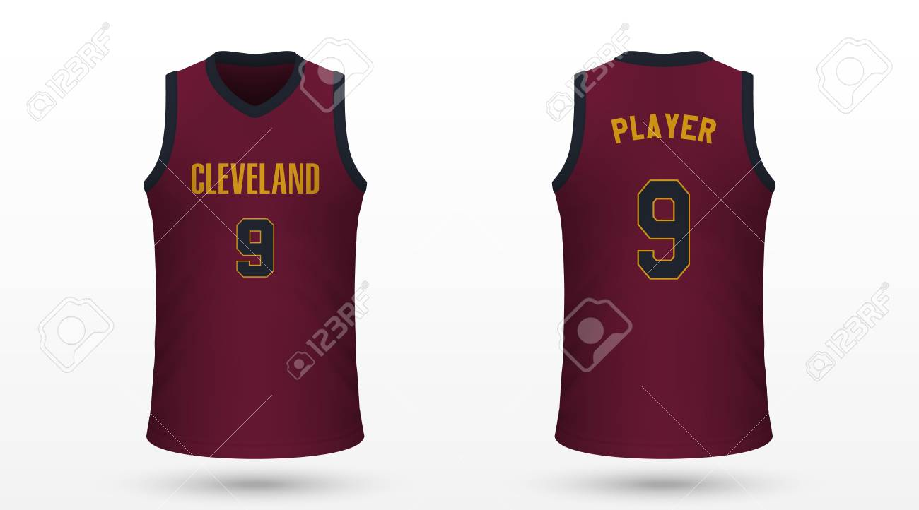 hot sale online e8c5c c4511 Realistic sport shirt Cleveland Cavaliers, jersey template for..