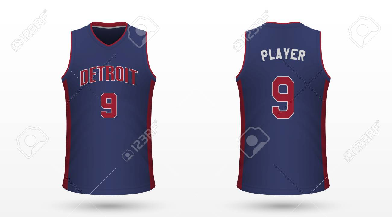pretty nice b0712 87771 Realistic sport shirt Detroit Pistons, jersey template for basketball..
