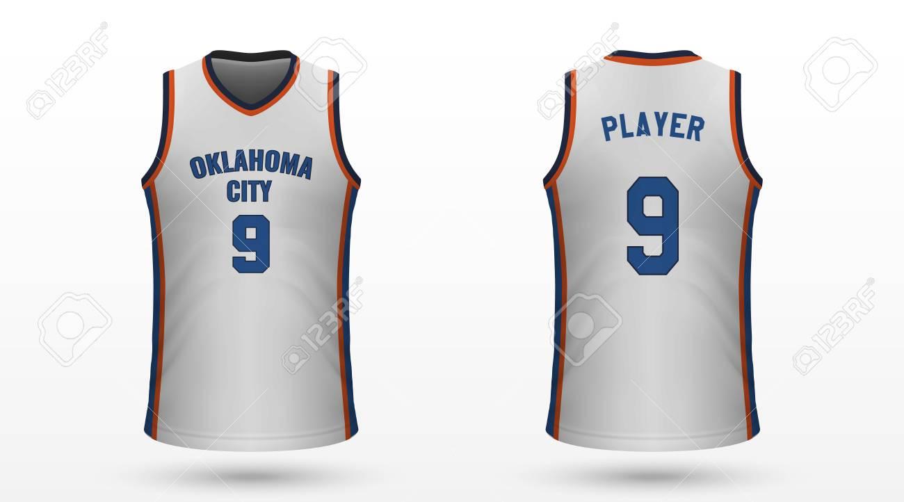 timeless design 0bddb 5ebb2 Realistic sport shirt Oklahoma City Thunder, jersey template..