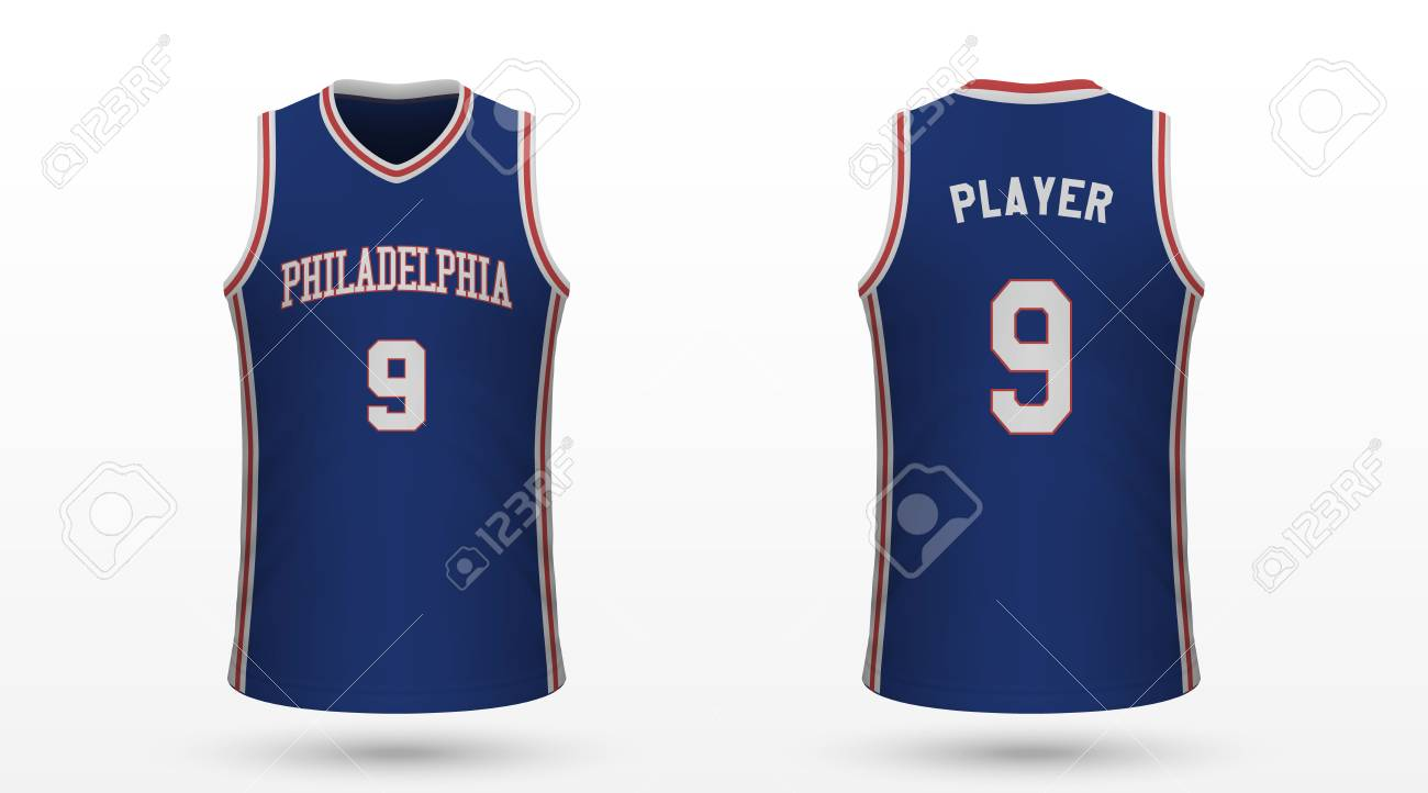 brand new 9d658 04b32 Realistic sport shirt Philadelphia 76ers, jersey template for..