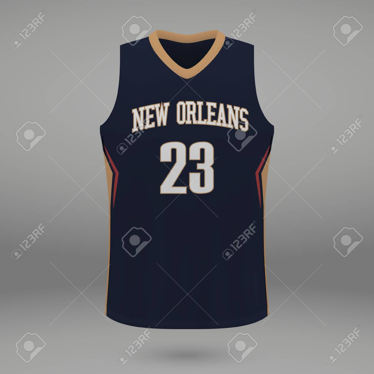 Realistic Sport Shirt New Orleans Pelicans Jersey Template For