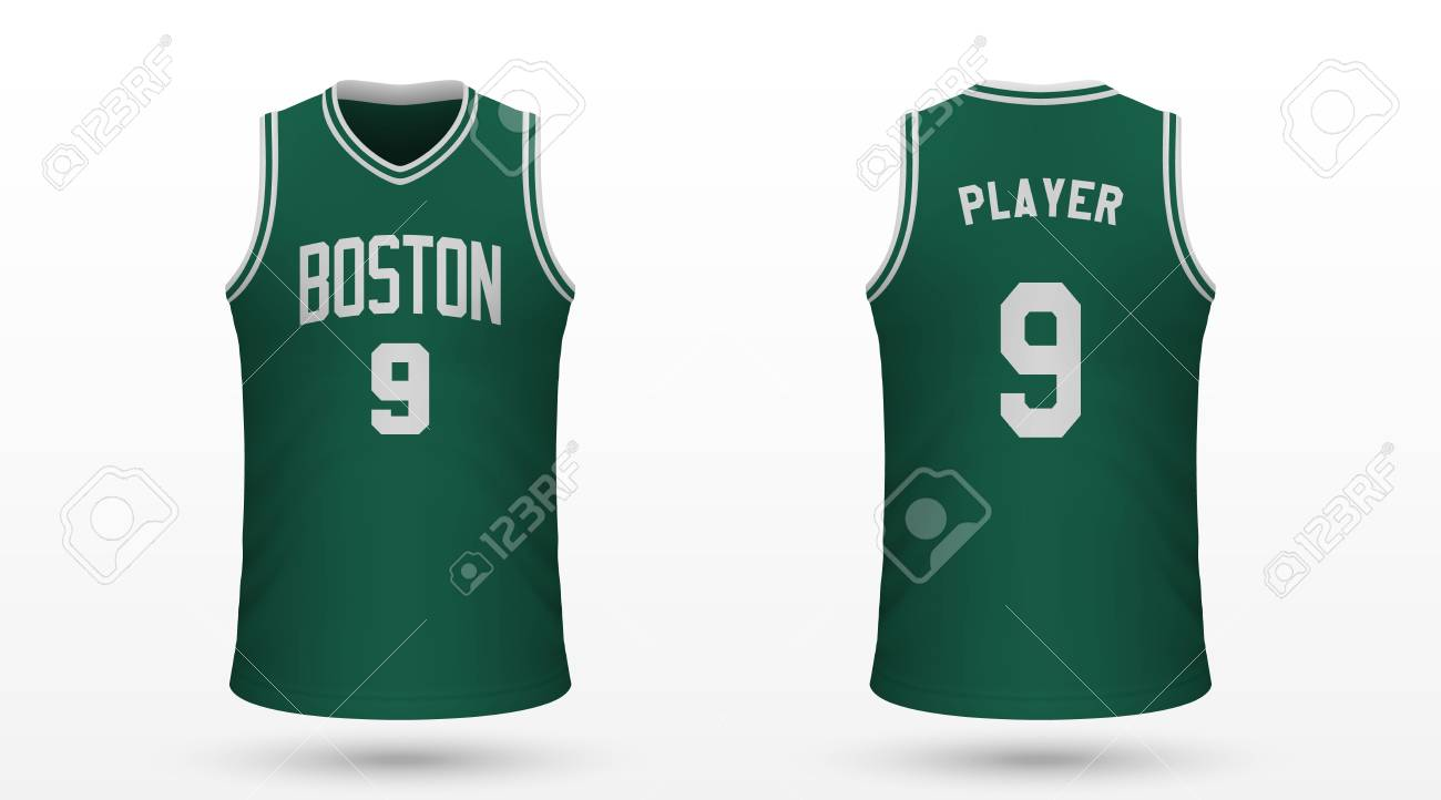 finest selection acba8 cb0e9 Realistic sport shirt Boston Celtics, jersey template for basketball..