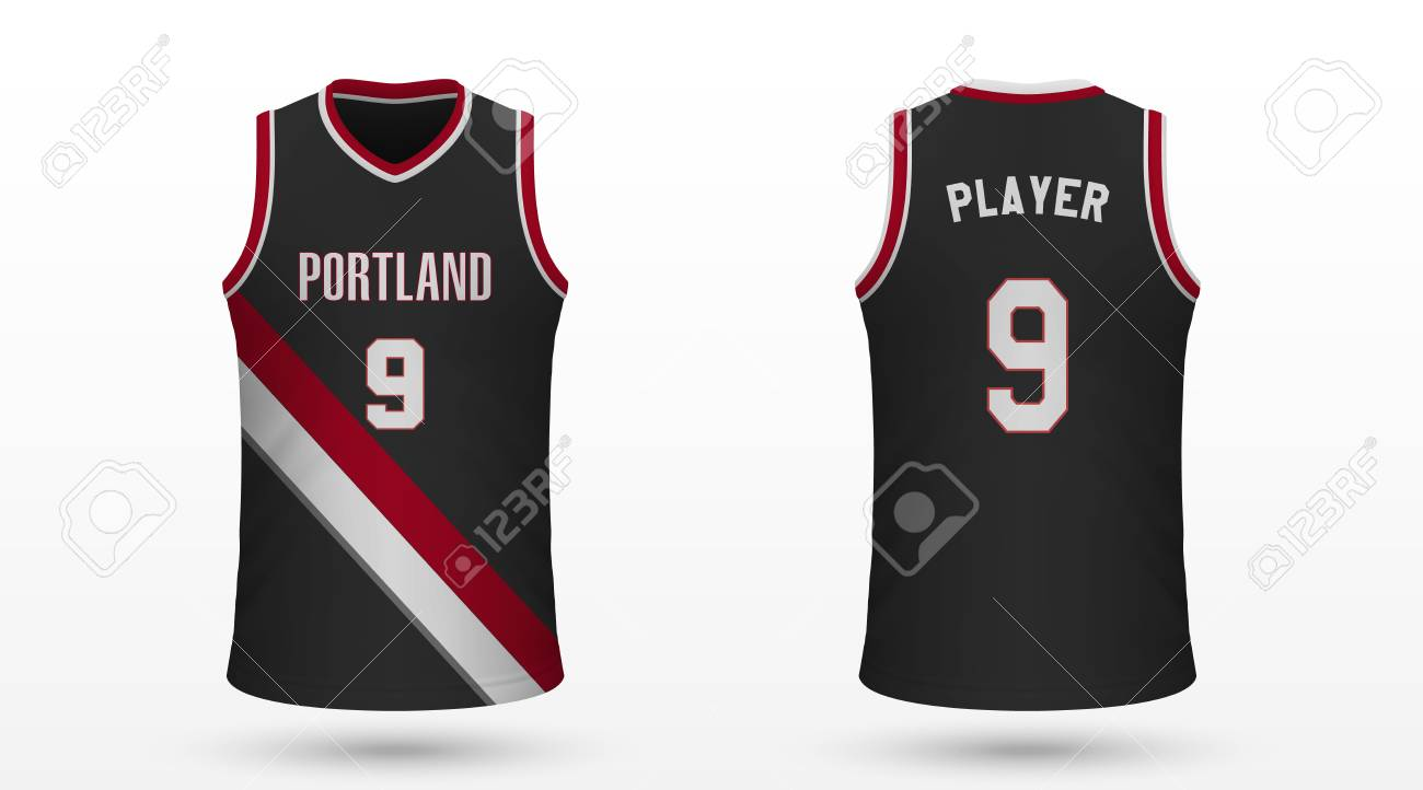 sports shoes 1a7f8 031c9 Realistic sport shirt Portland Trail Blazers, jersey template..