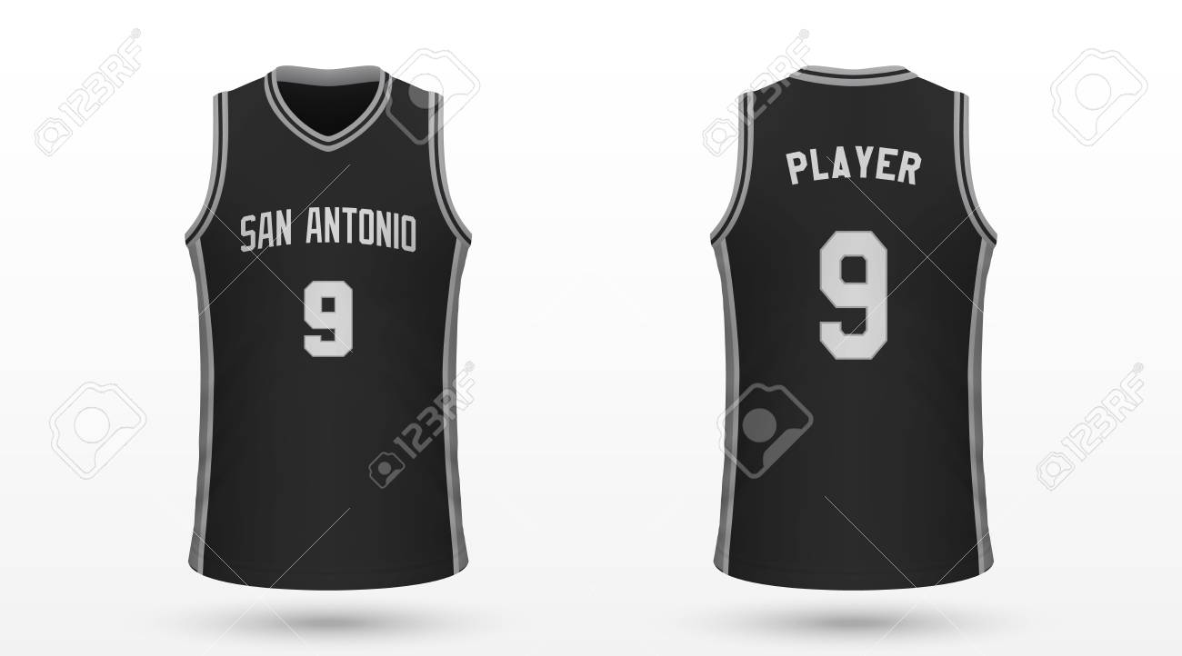huge discount 936dd 0ad8d Realistic sport shirt San Antonio Spurs, jersey template for..