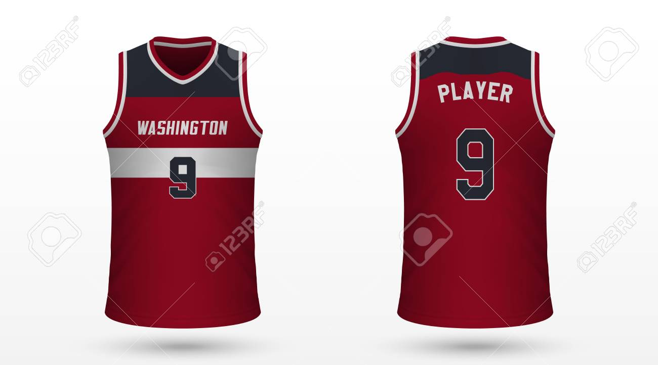 huge selection of 44d54 3de94 Realistic sport shirt Washington Wizards, jersey template for..