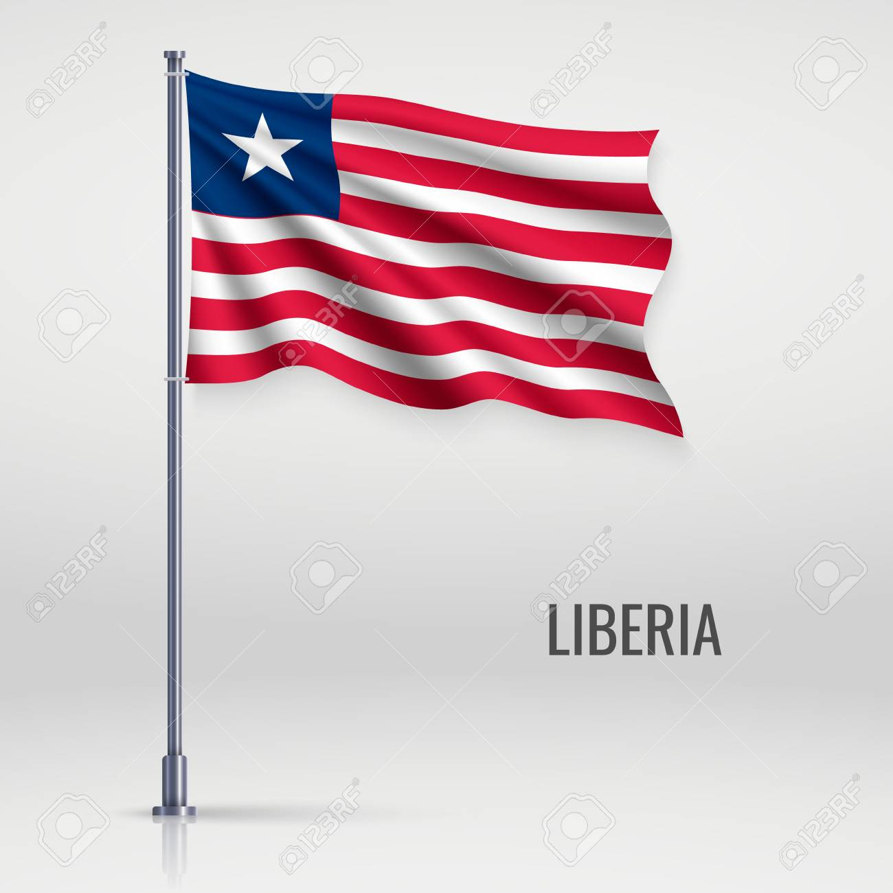 Waving flag of Liberia on flagpole  Template for independence