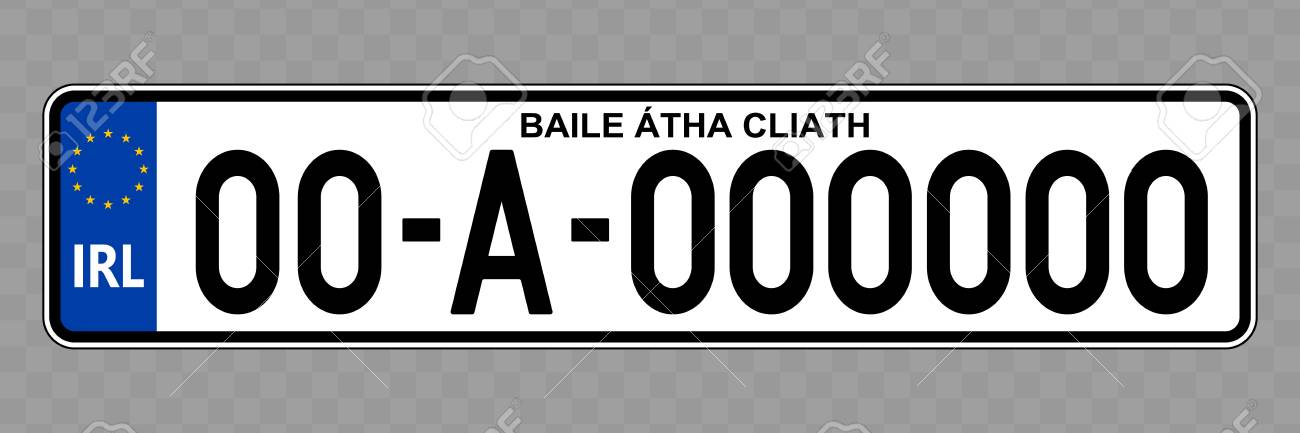 Number plate. Vehicle registration plates of Ireland - 124599476