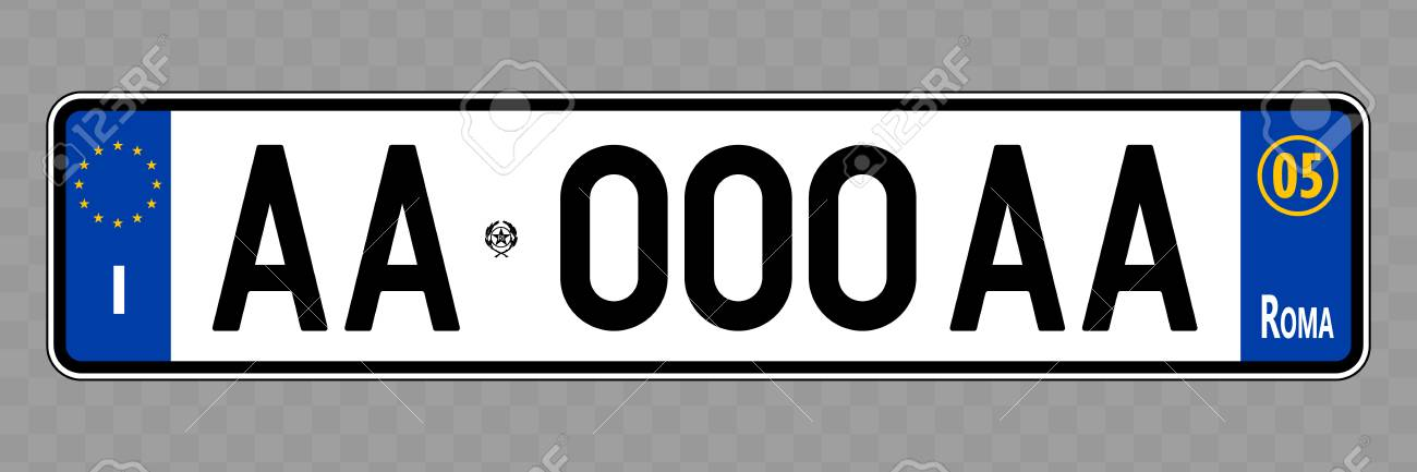 Number plate. Vehicle registration plates of Italy, Italian - 118685207