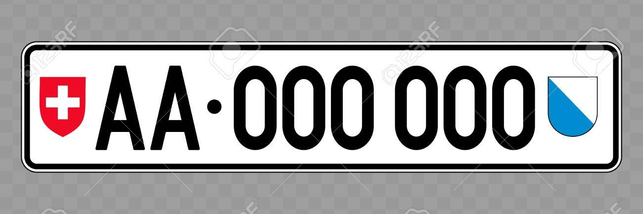 Number plate. Vehicle registration plates of Switzerland - 124599493