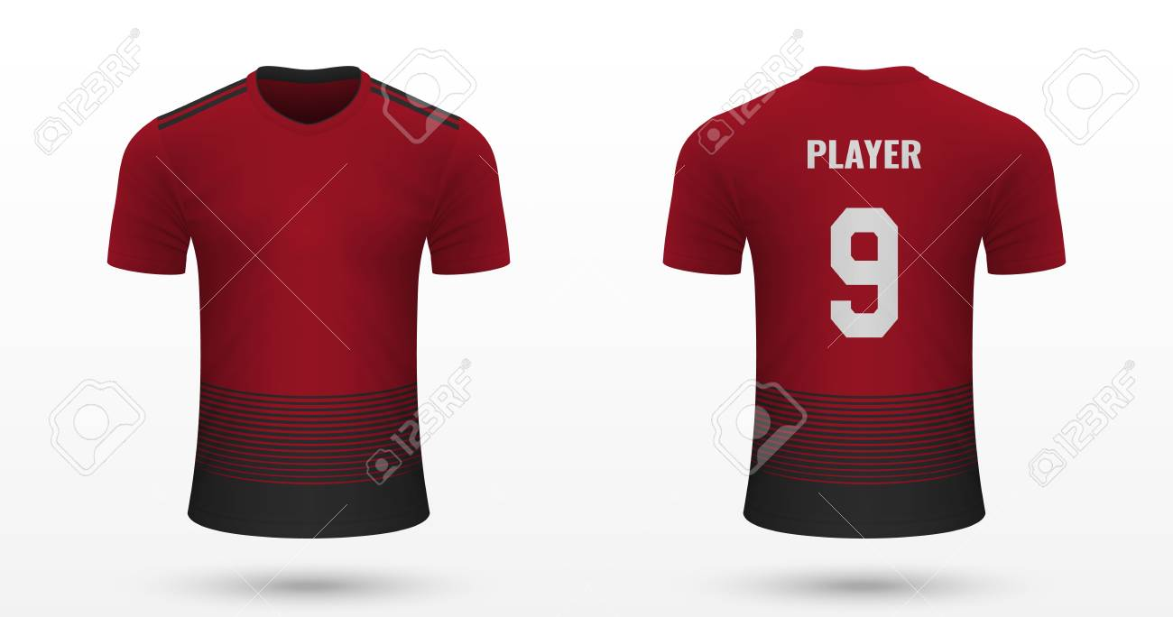the best attitude 3911d 57b57 Realistic soccer shirt Manchester United, jersey template for..