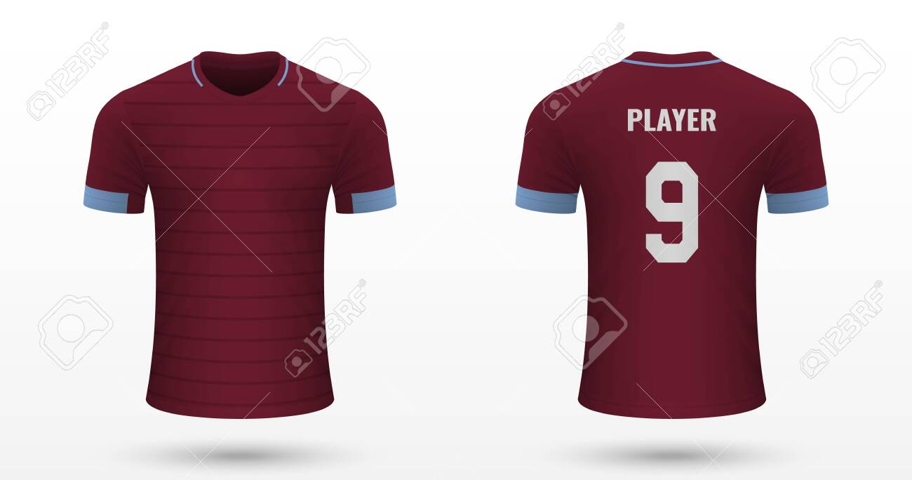 finest selection 01229 99cfb Realistic soccer shirt West Ham, jersey template for football..