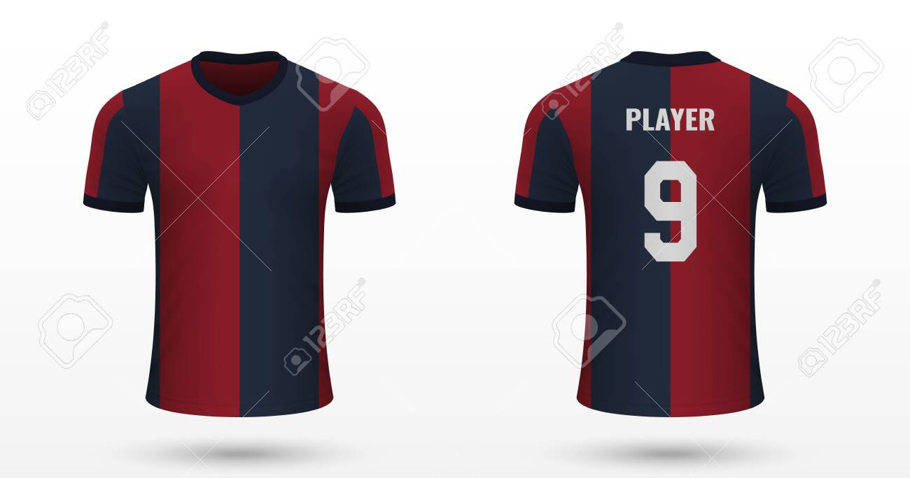 Realistic Soccer Shirt Bologna Jersey Template For Football Royalty Free Cliparts Vectors And Stock Illustration Image 124210811