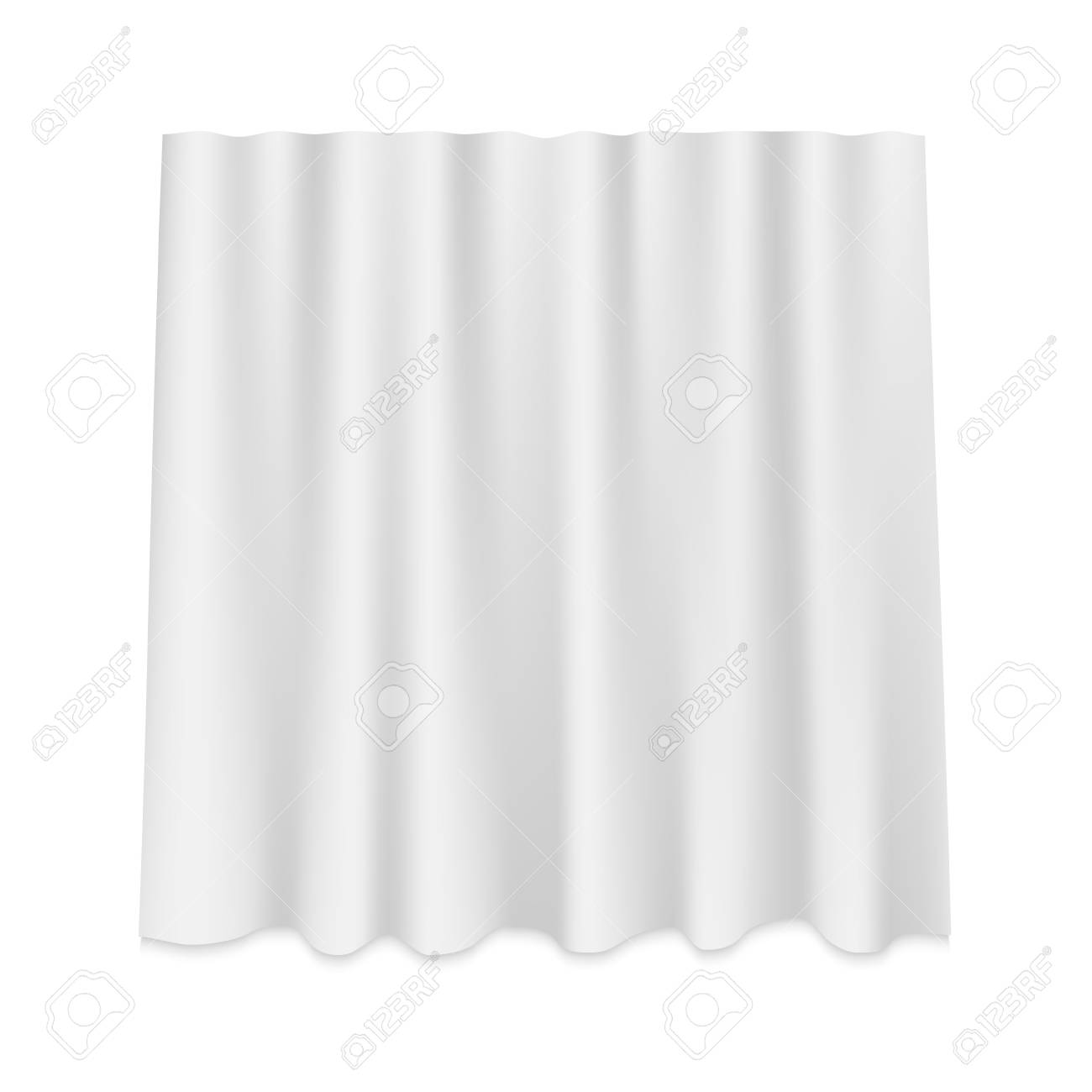 White Hanging silk curtain isolated - 123892153