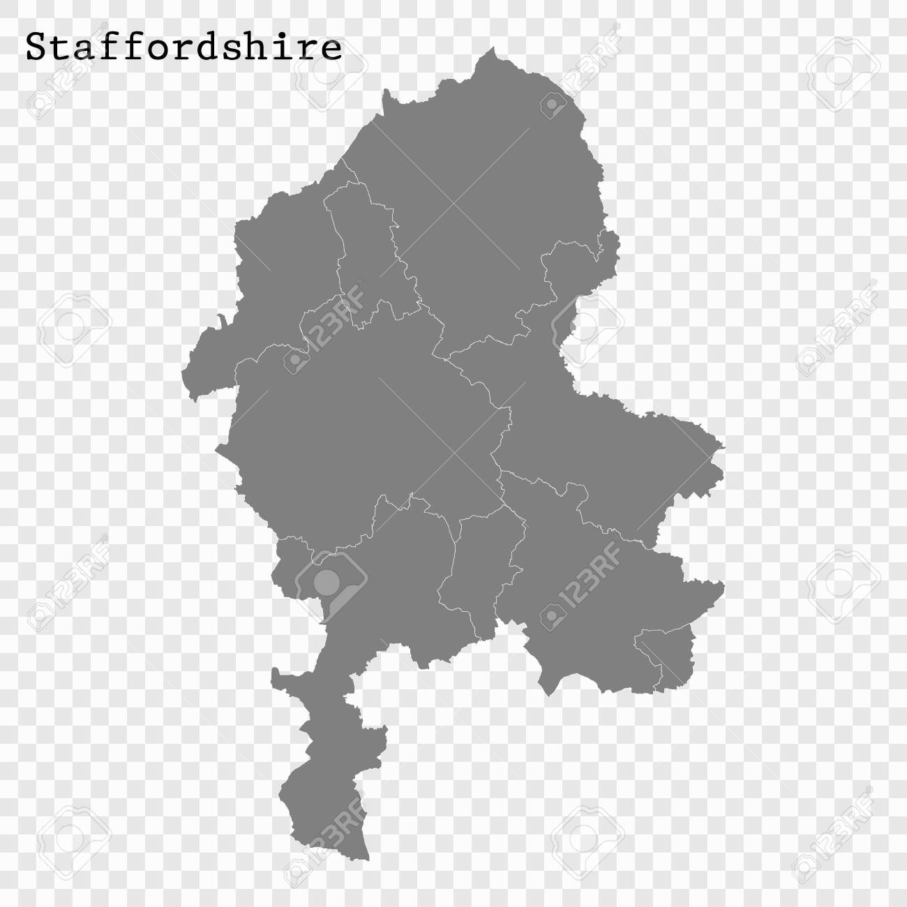 Map Of England Districts.High Quality Map Of Staffordshire Is A County Of England With