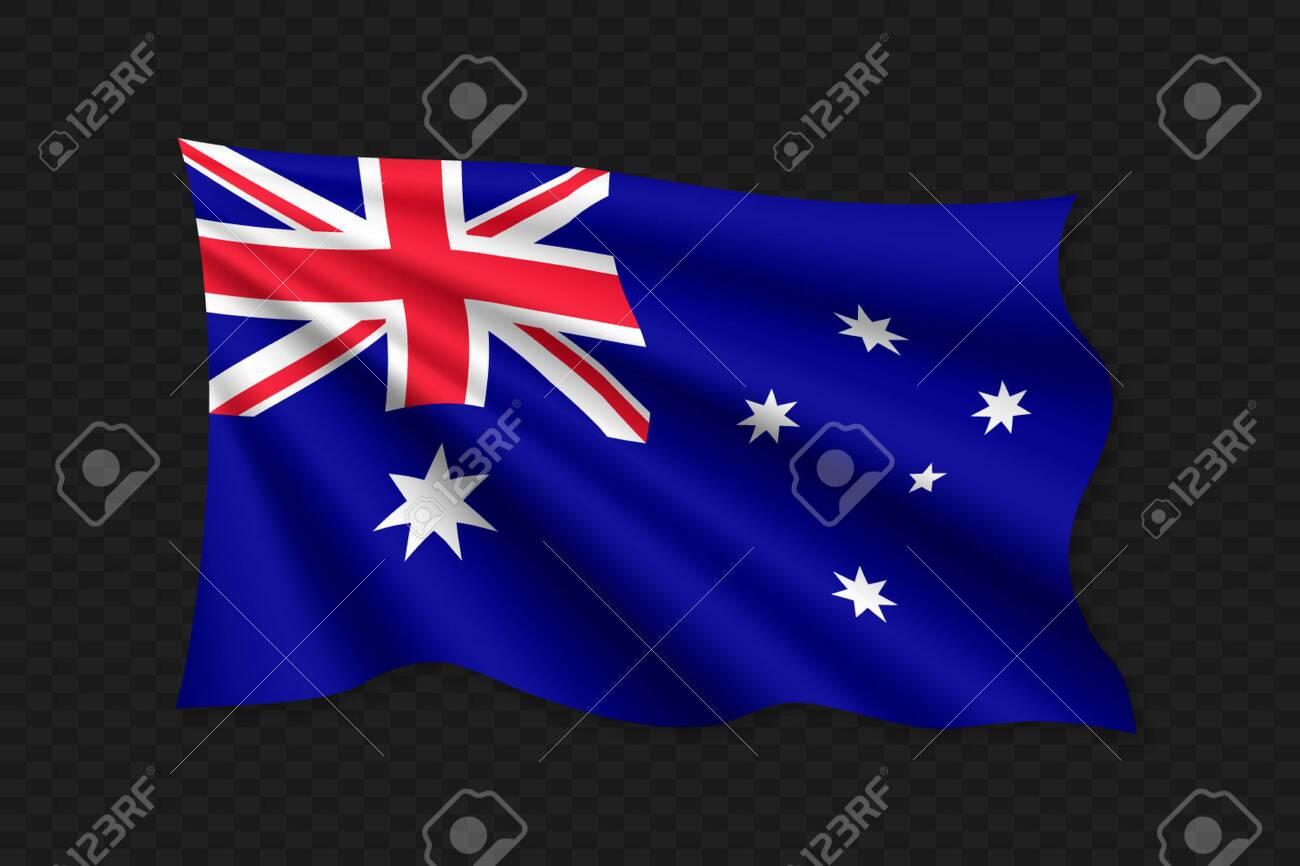 3D Waving Flag of Australia. Vector illustration - 124211348