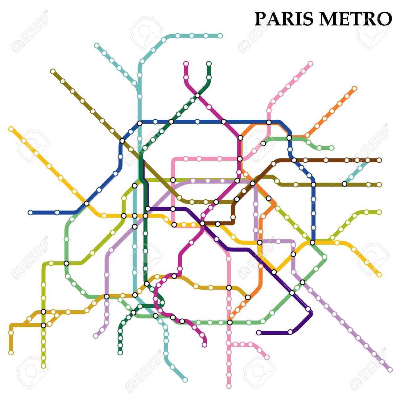 Map Subway Paris.Map Of The Paris Metro Subway Template Of City Transportation Royalty Free Cliparts Vectors And Stock Illustration Image 125913575