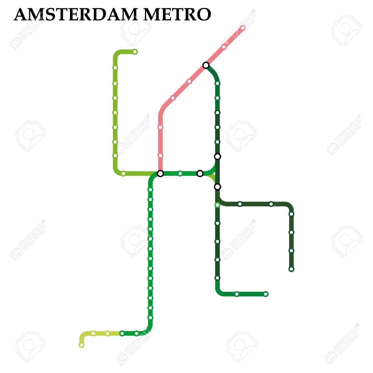 Subway Map Amsterdam.Map Of The Amsterdam Metro Subway Template Of City Transportation