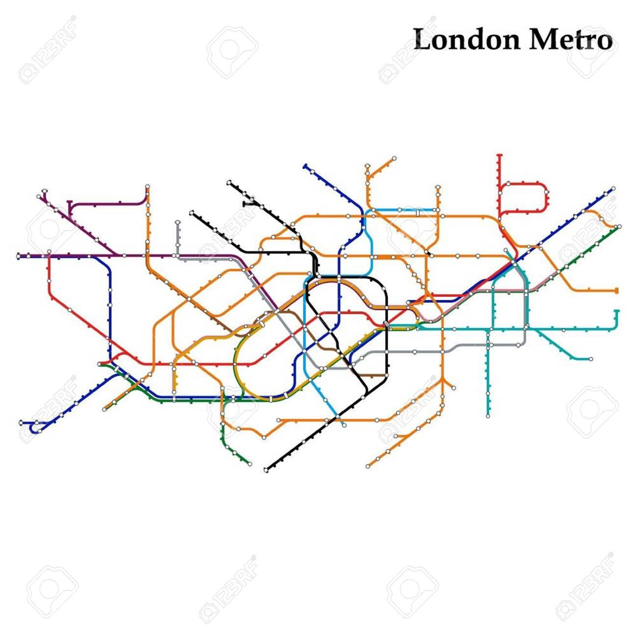 London England Transit Map.Map Of The London Metro Subway Template Of City Transportation