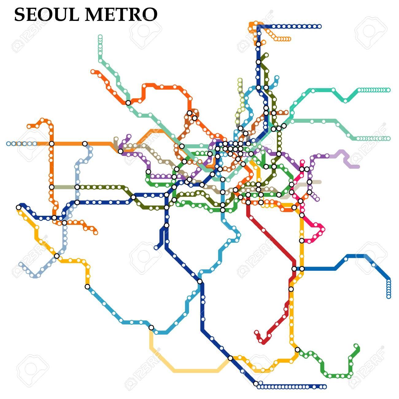 Seoul City Subway Map.Map Of The Seoul Metro Subway Template Of City Transportation