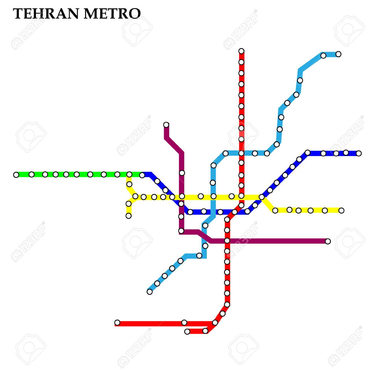 Tehran Subway Map.Map Of The Tehran Metro Subway Template Of City Transportation