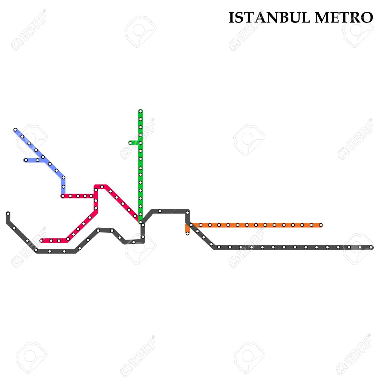 Subway Map Of Istanbul.Map Of The Istanbul Metro Subway Template Of City Transportation