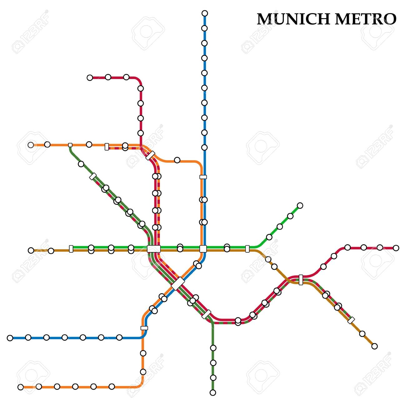 Munich Subway Map.Map Of The Munich Metro Subway Template Of City Transportation