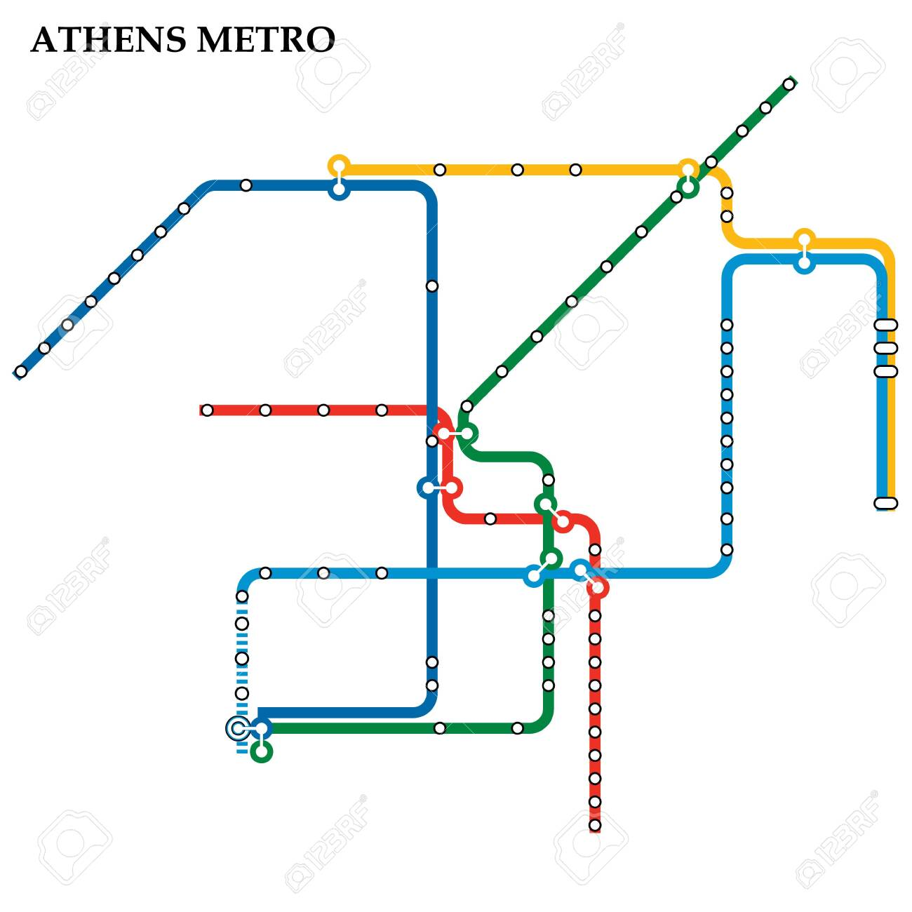 Athens Subway Map.Map Of The Athens Metro Subway Template Of City Transportation