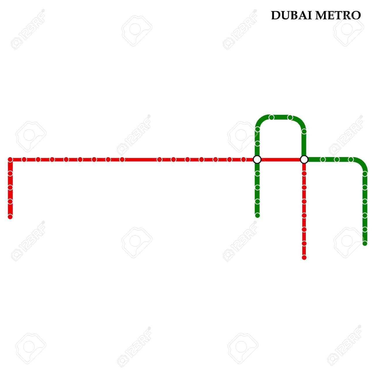 Dubai Subway Map.Map Of The Dubai Metro Subway Template Of City Transportation