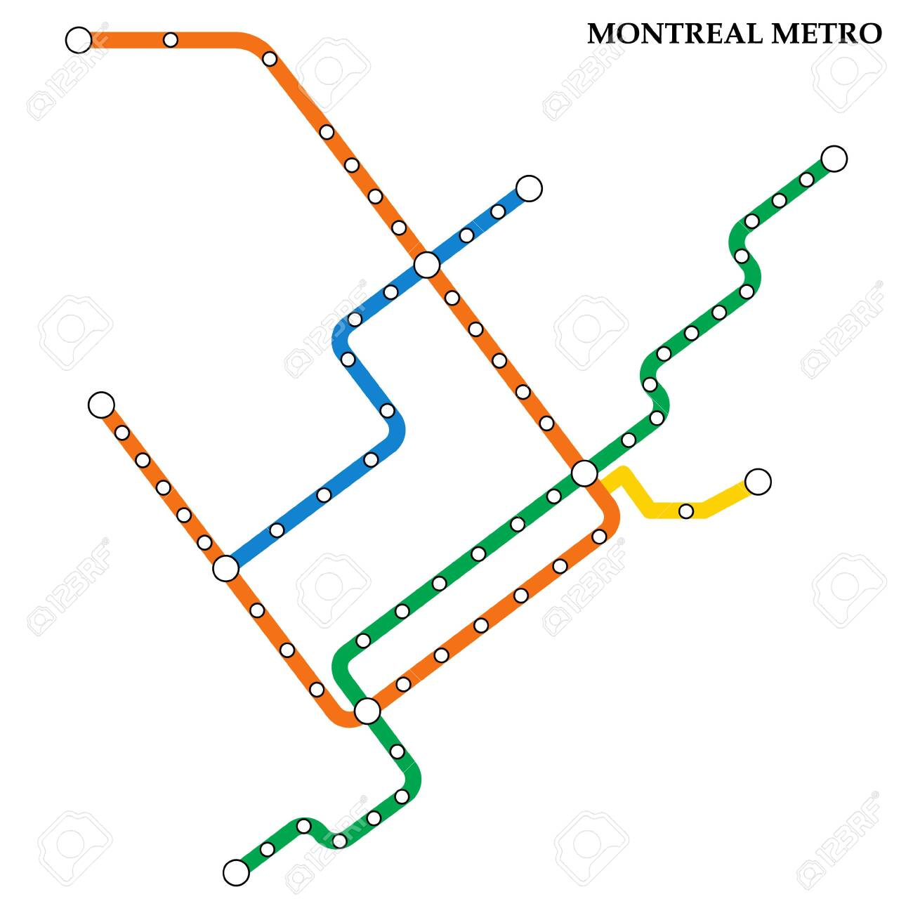 Montrela Subway Map.Map Of The Montreal Metro Subway Template Of City Transportation