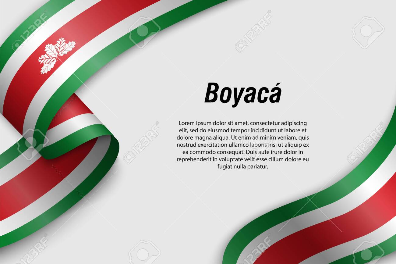 Waving ribbon or banner with flag of Boyaca. Department of Colombia. Template for poster design - 135121794
