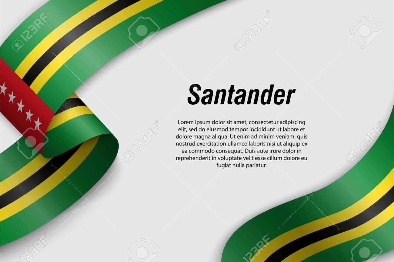 Waving ribbon or banner with flag of Santander. Department of Colombia. Template for poster design - 135127389