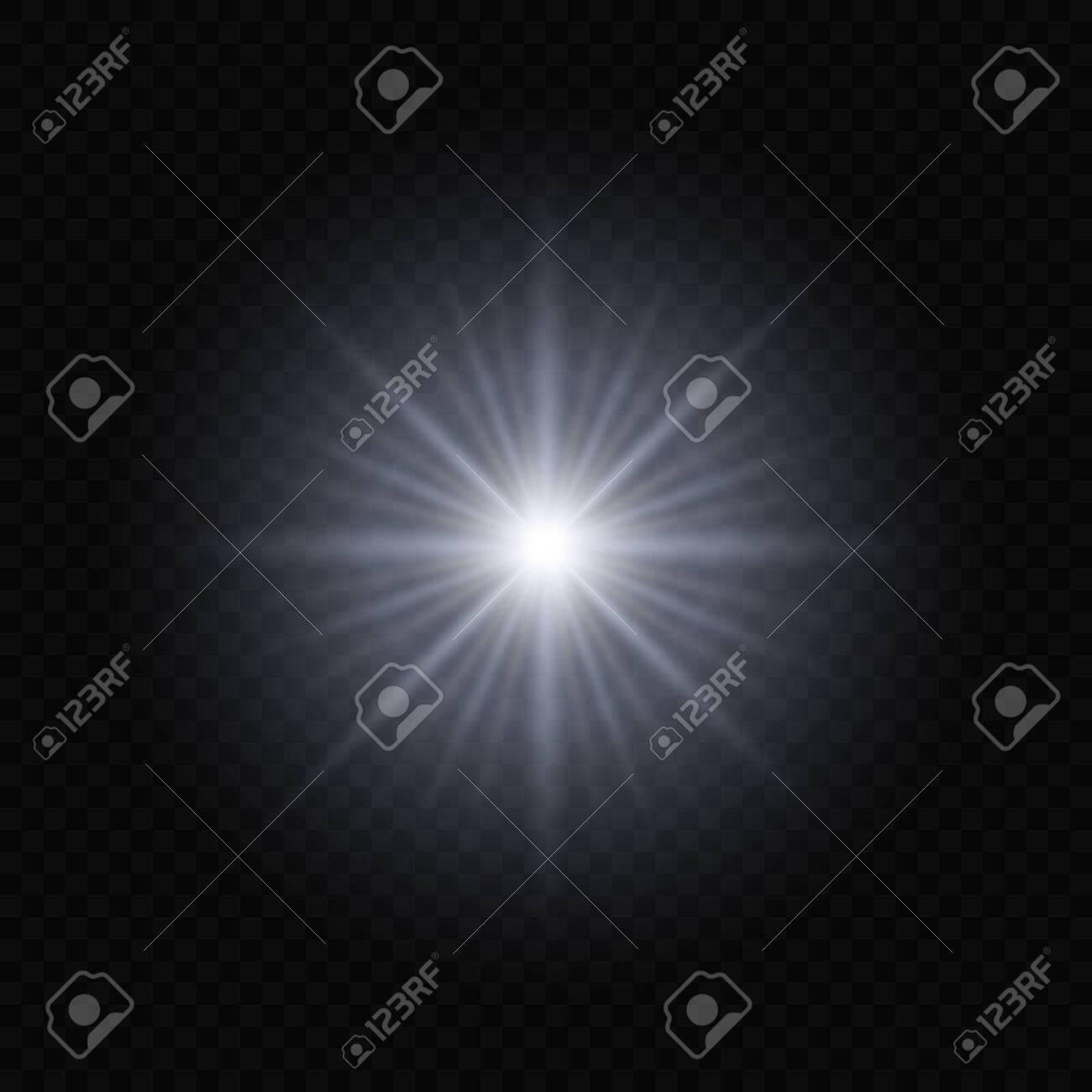 Sun light flash with lens flare effect on transparent background - 150157275