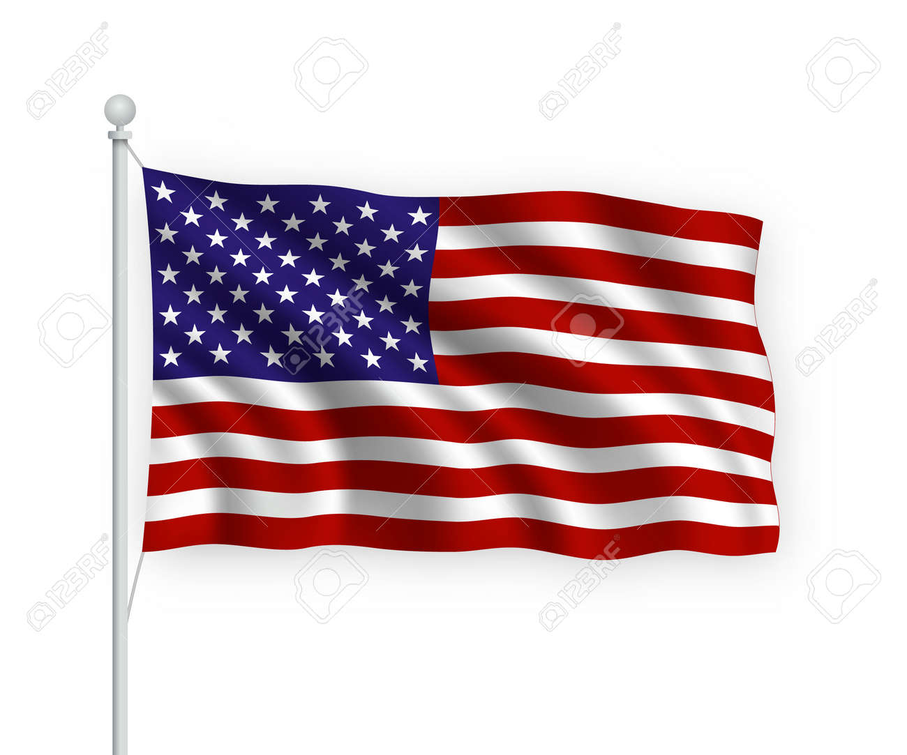 3d waving flag United States on flagpole Isolated on white background. - 158678058