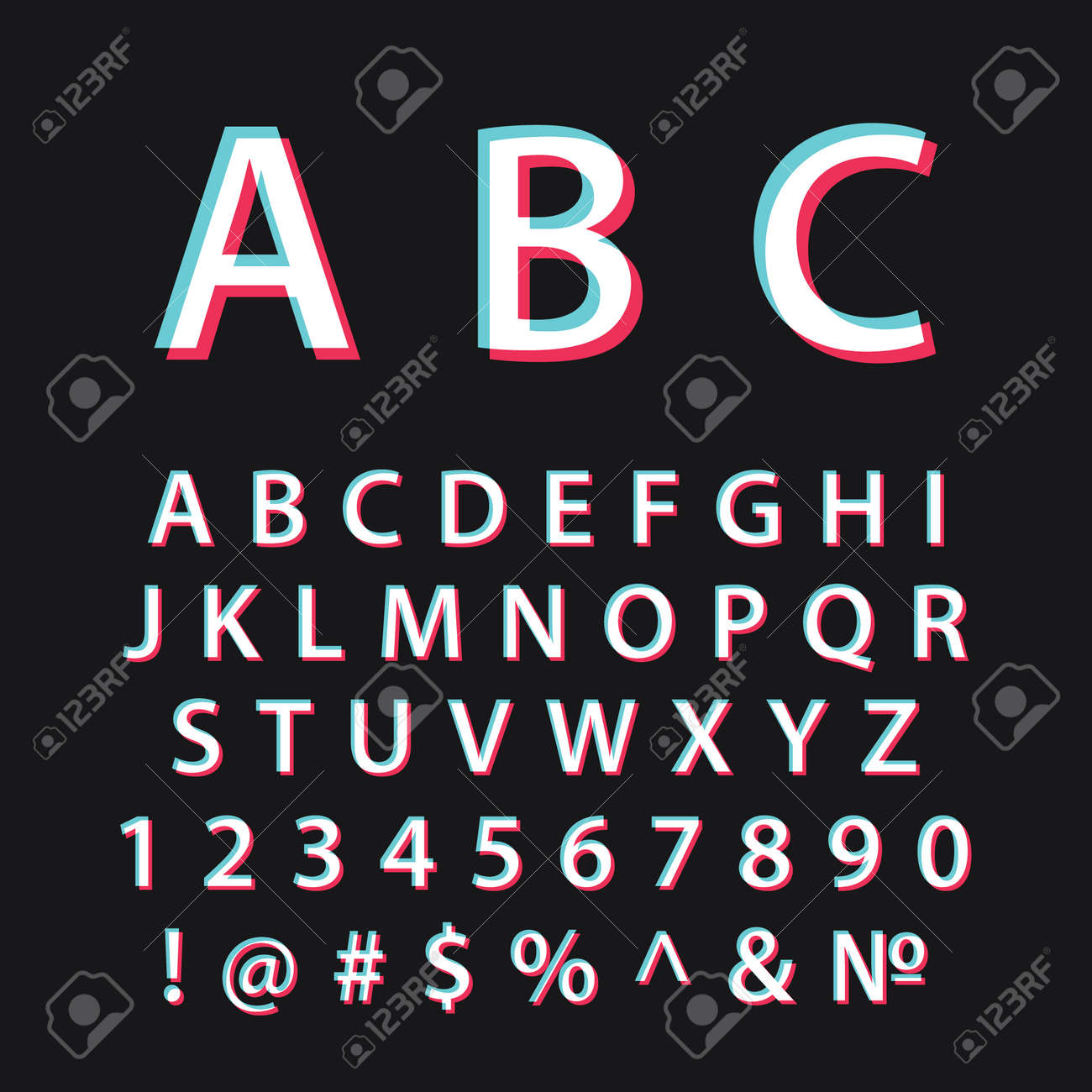 Glitch alphabet. Modern social media font - 158680227