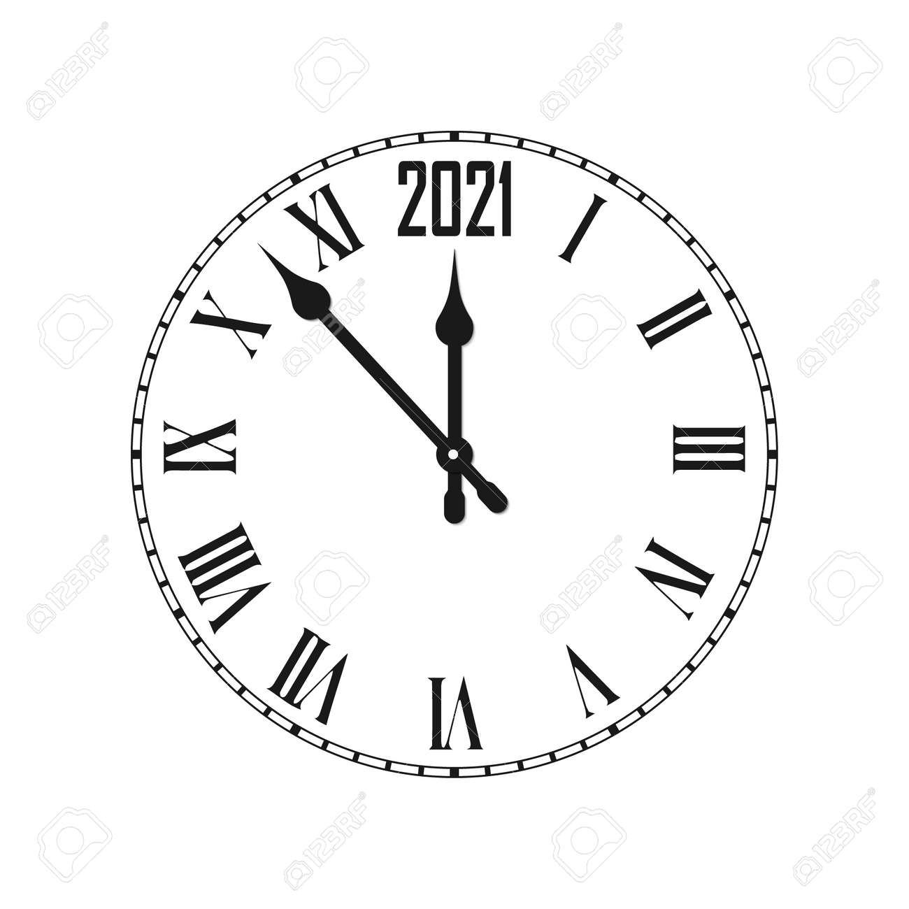 Happy New Year 2021 icon with clock - 158681953