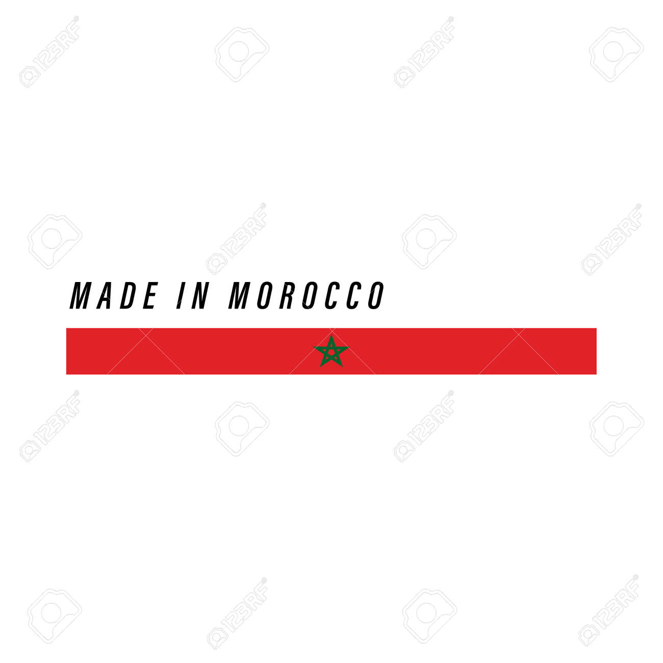 Made in Morocco, badge or label with flag isolated on white background - 168929102