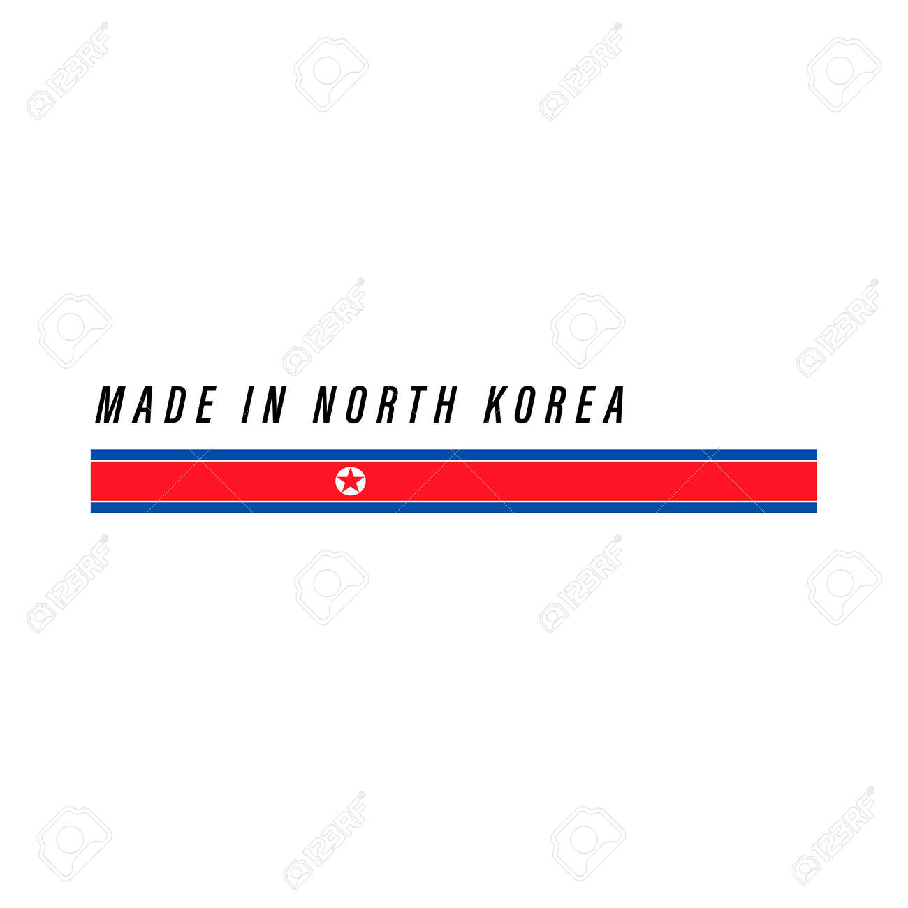 Made in North Korea, badge or label with flag isolated on white background - 168929107
