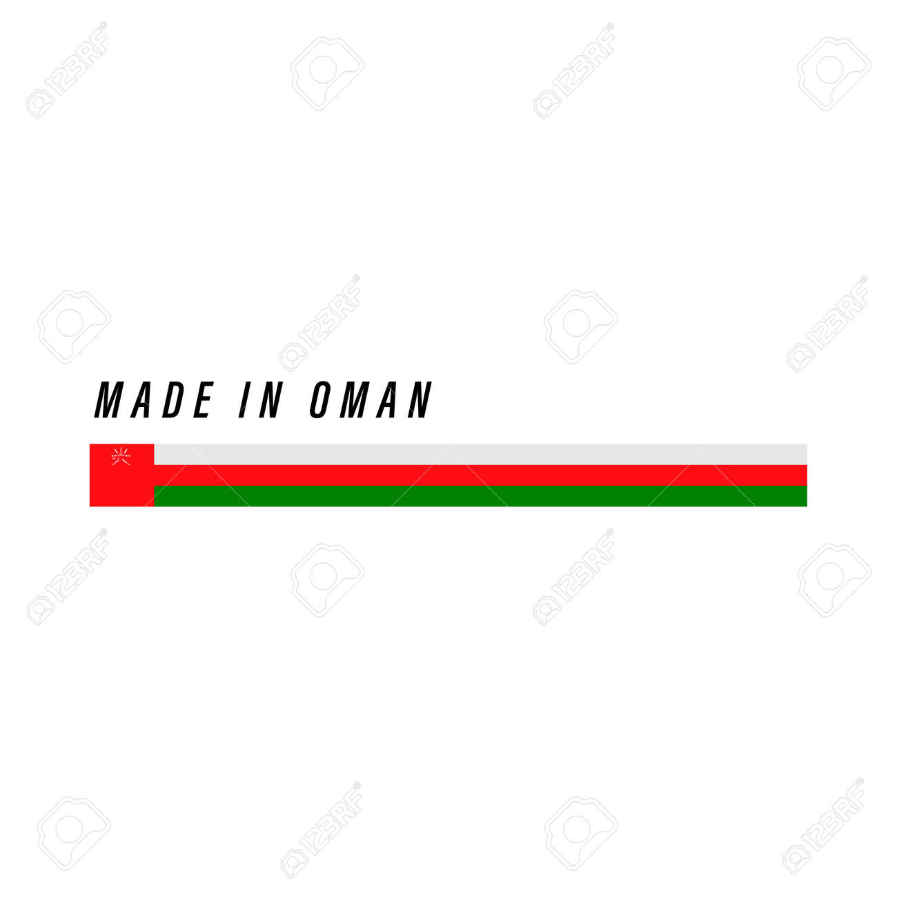 Made in Oman, badge or label with flag isolated on white background - 168929110