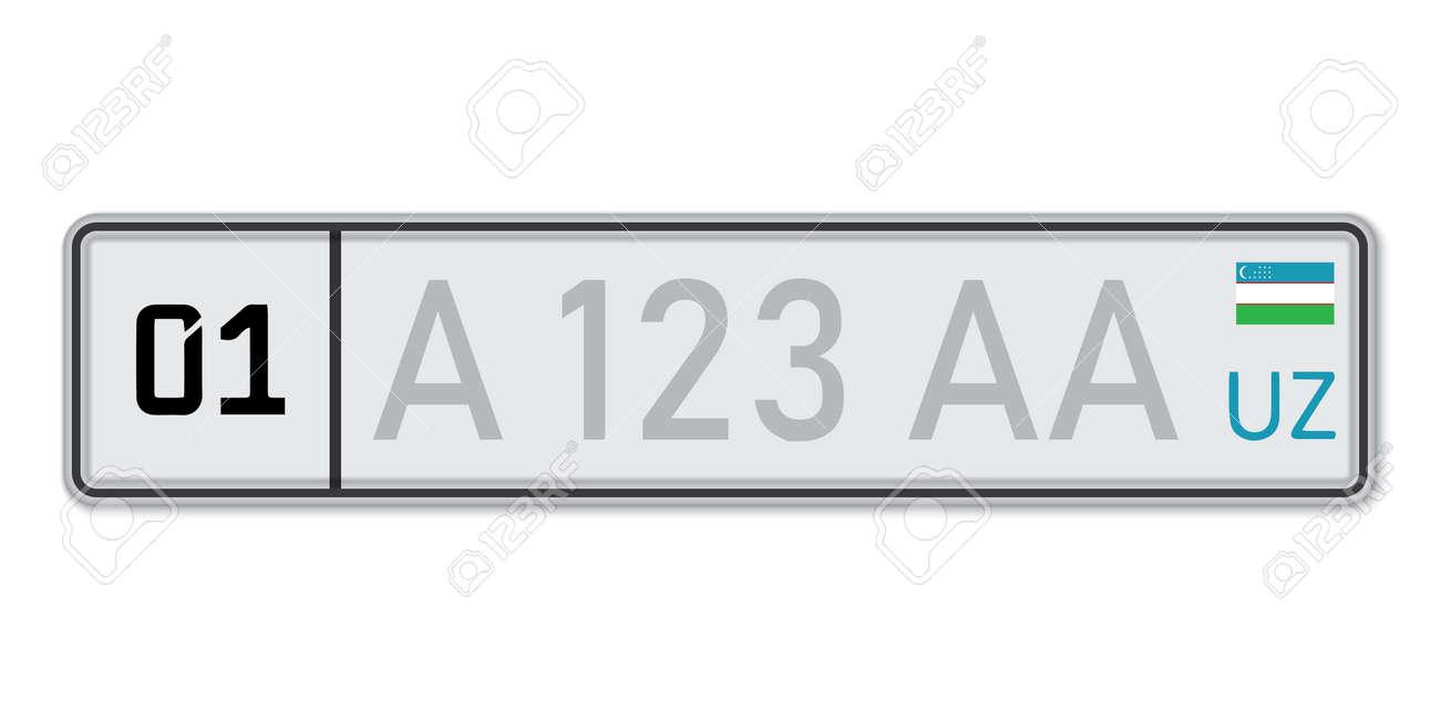 Car number plate. Vehicle registration license of Uzbekistan. European Standard sizes - 168872378