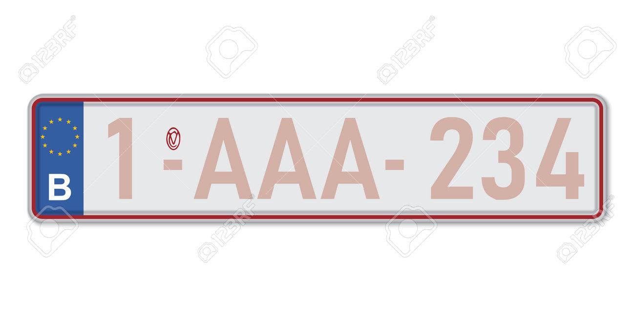 Car number plate. Vehicle registration license of Belgium. European Standard sizes - 168928827