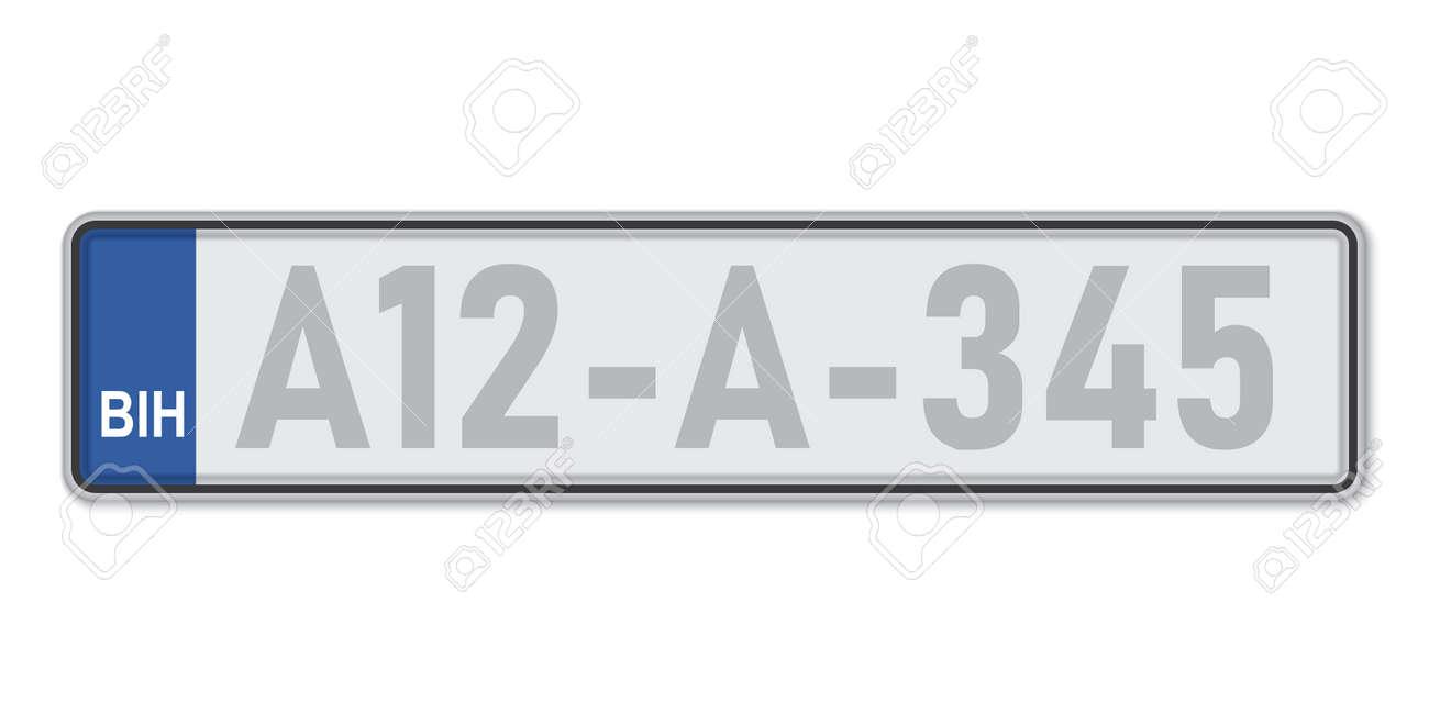 Car number plate. Vehicle registration license of Bosnia. European Standard sizes - 168928828