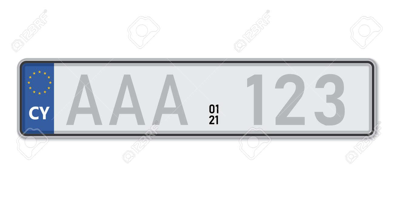 Car number plate. Vehicle registration license of Cyprus. European Standard sizes - 168928831