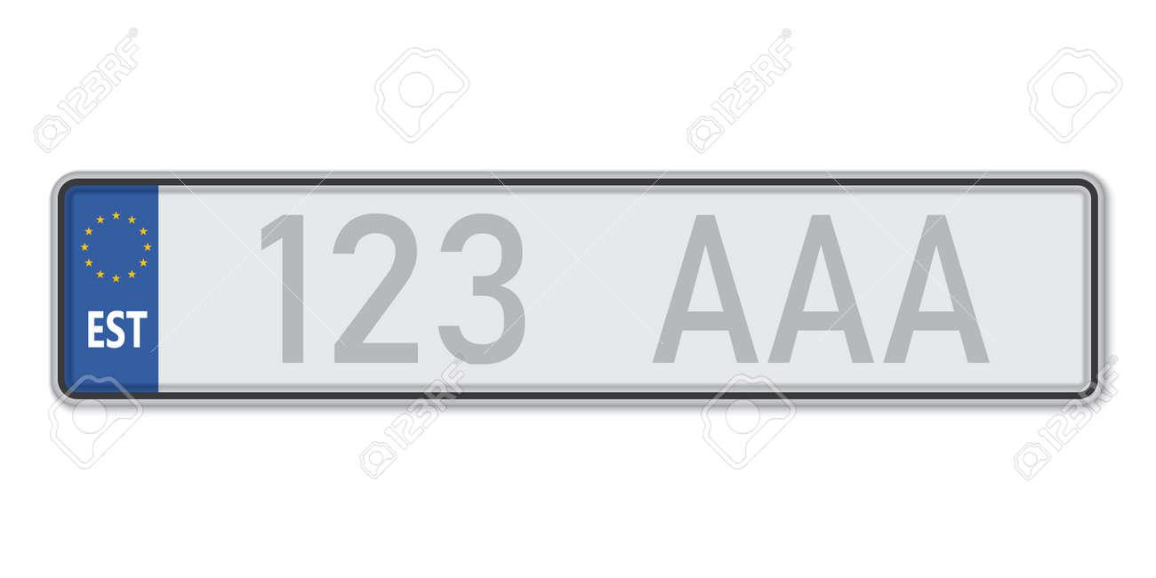 Car number plate. Vehicle registration license of Estonia. European Standard sizes - 168928945